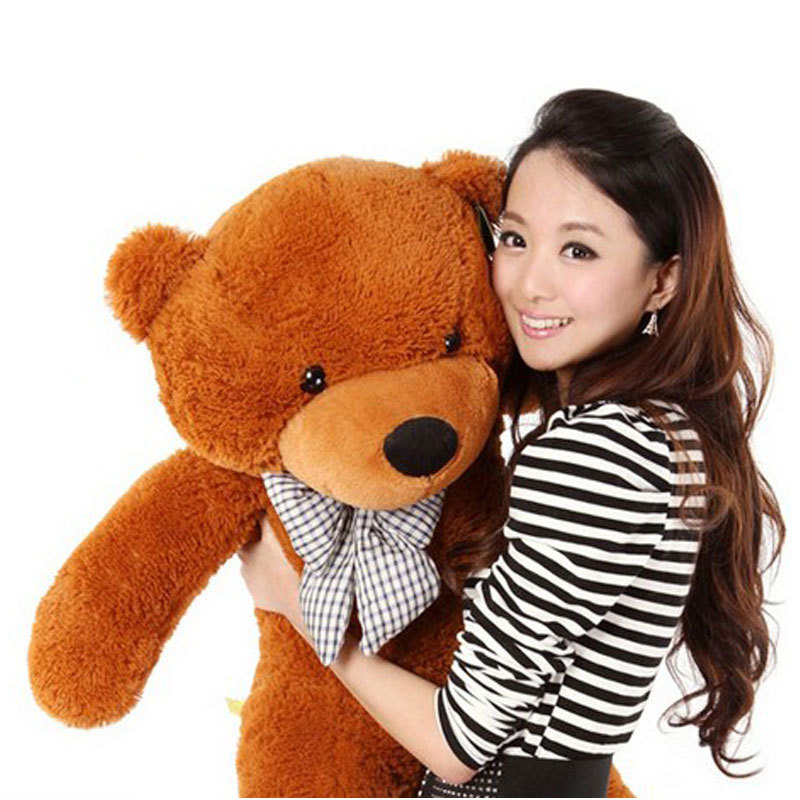 Hot Sale Brown Giant Big Cute Plush Teddy Bear Huge Soft Toy 100CM 100% Cotton Gift#53445(China (Mainland))
