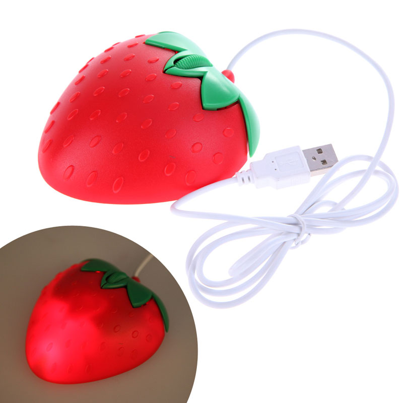 Free Shipping Gaming Mouse Sweet Computer PC Desktop Strawberry Fruit Best Gift For Girls USB Optical Mouse Mice Best Price(China (Mainland))