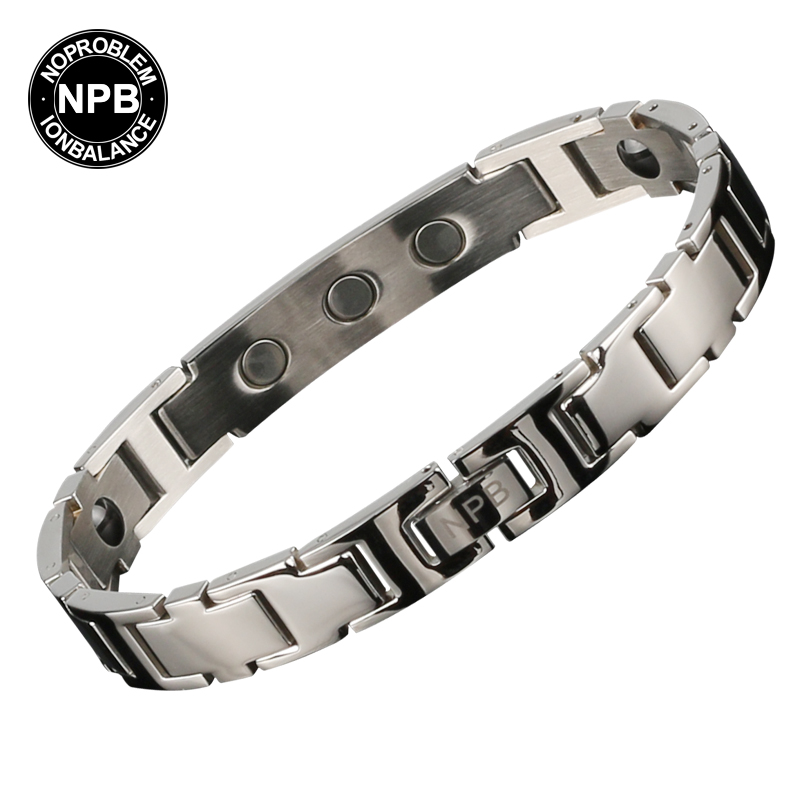 Noproblem B90044 summer style Antifatigue infrared ion scalar energy power titanium charms best balance magneitc pin bracelet(China (Mainland))