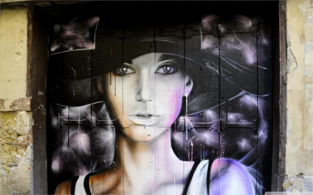 Beautiful graffiti portrait girl 4 Sizes Silk Fabric Canvas Poster Print(China (Mainland))