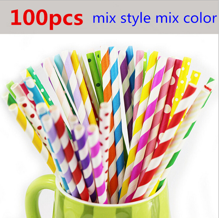 cheap 100pcs mix color mix style paper straw baby Kids Birthday Party Wedding Decoration Paper Drinking Straws party supplies(China (Mainland))