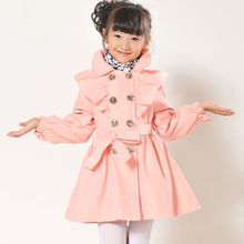 Free shipping Kids Girls Baby Children's Coat Outerwear Jackets Double-breasted Trench Coat-