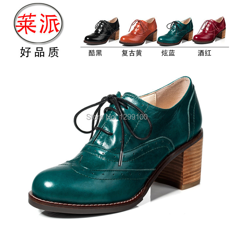 Oxford Shoes For Women Heels Free Shipping Spring and Autumn New Brand Fashion Boots Genuine Leather Platform Pumps 34-41<br><br>Aliexpress