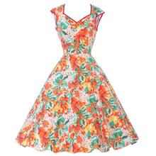Casual Women Dress Summer 50s 60s Retro Vintage Dresses Floral Print Dot Robe Femme Rockabilly Plus Size Pinup Swing Party Dress(China (Mainland))