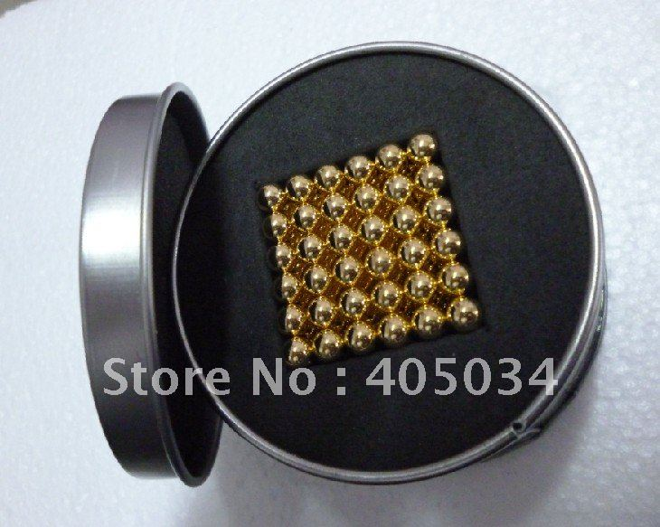 Free shipping 5mm Gold Neocube Buckyballs Magic cubes toys Retail Sale!!!(China (Mainland))