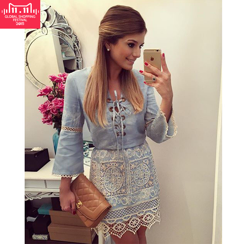 2015 New Fashion Women Lace Up Denim Dress Patchwork Flared Long-Sleeved Casual Dresses Factory Outlet free shipping Real shot(China (Mainland))