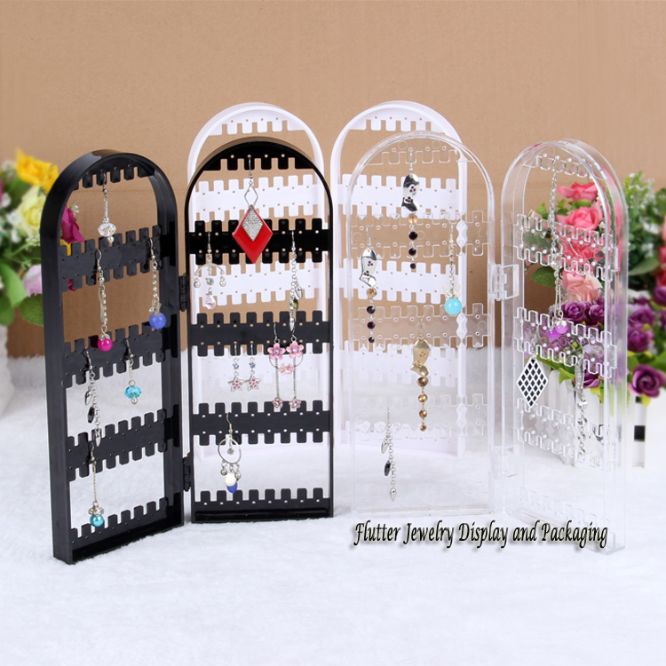 Quality Acrylic Earring Display Stand Jewelry Dislay Props 120 Holes Earring Showing Rack Necklace Holder Earring Foldable Props(China (Mainland))