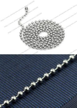 Free shipping wholesale 316l stainless steel chains 2.0mm 18 inch stainless steel ball necklace ball chain never running color
