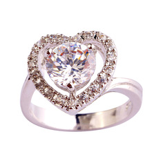 Buy Lingmei Handmade Crystal Jewelry Round cut Gems White CZ Gems Silver Ring Size 6 7 8 9 10 11 Free Wholesale for $3.99 in AliExpress store