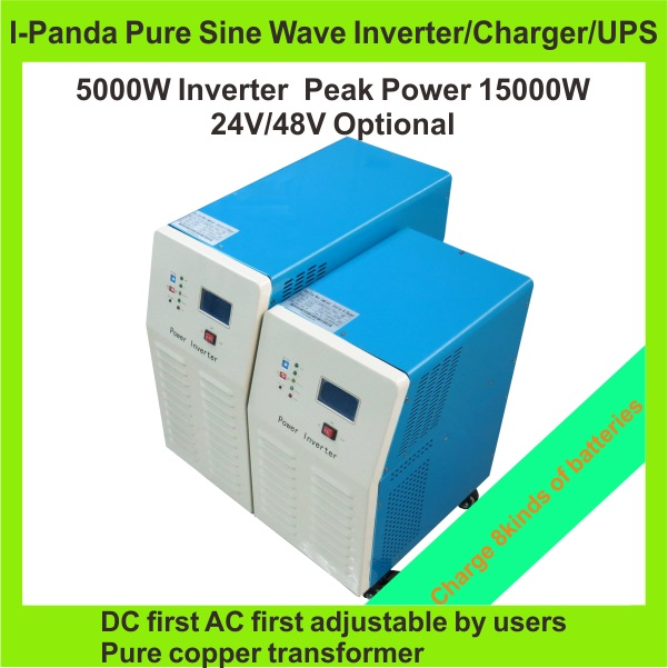 Fast shipping Pure sine wave off grid inverter 5000W 5KW DC24V 48V to AC220V 50HZ 110V 60HZ DC to AC power inverter charger UPS(China (Mainland))