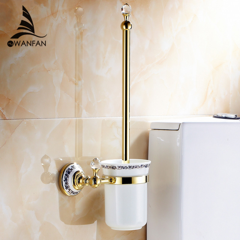 Free Shipping Wall Mounted Bathroom Accessories Brass & Crystal Toilet Brush Holder,chrome