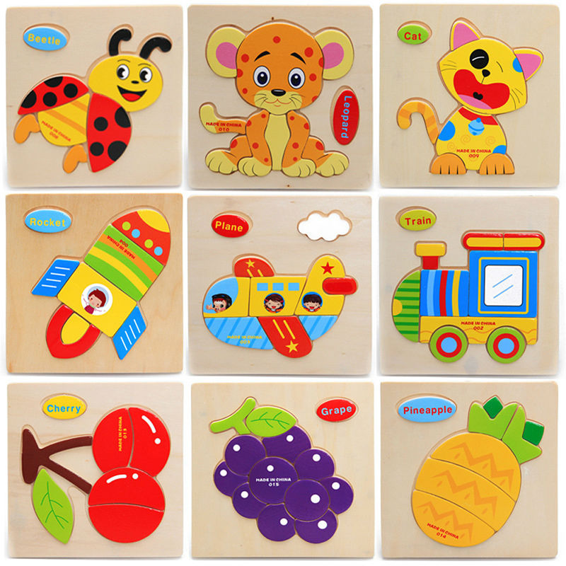 3Pcs/Lot Wooden Animals Puzzle Toy Children Educational Toy Cartoon Pattern Jigsaw 3D Puzzle Toy for Baby Random Type K5BO(China (Mainland))