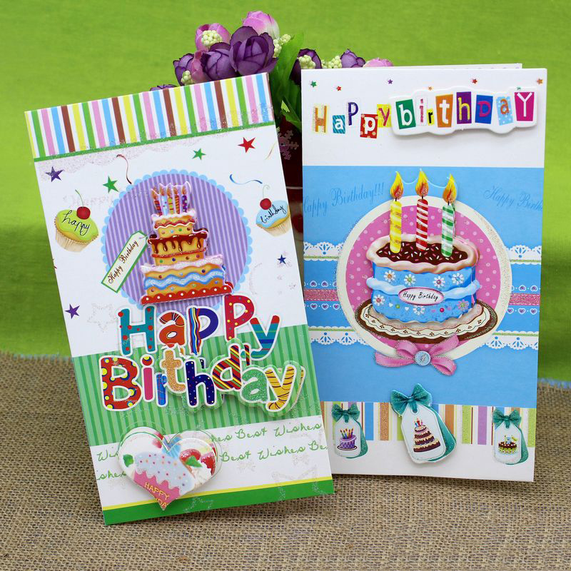 (8 Pieces/lot)3D Stereo Cake Handmade Birthday Greeting
