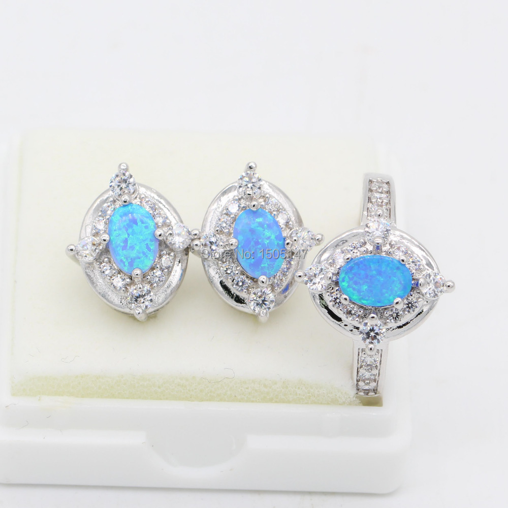 Amazing Wholesale Party Gifts Jewelry Set Bule Fire Opal 925 Sterling Silver Stamp Ring&amp;Earrings Set<br><br>Aliexpress