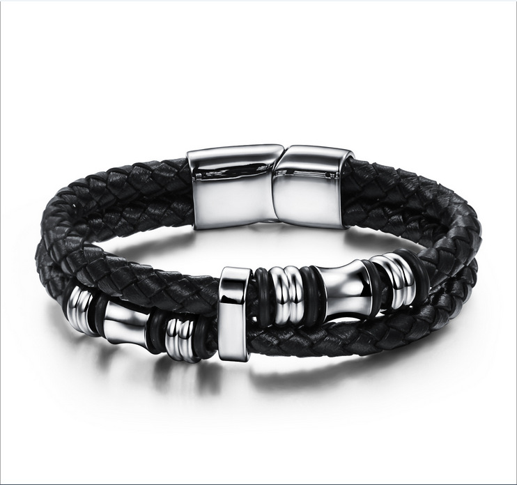 Fashion Sporty Leather Bracelets Men Black Real Wristband Cool Braided Jewelry PH911  -  Coolcastle store