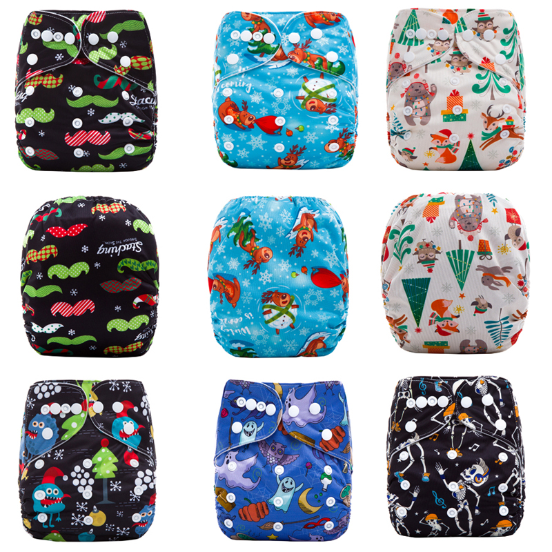 Merry Christmas Newborn Cloth Diaper Washable Modern Nappy Baby Diapers (with Bamboo Inserts) - Health Beauty Life Online Store store
