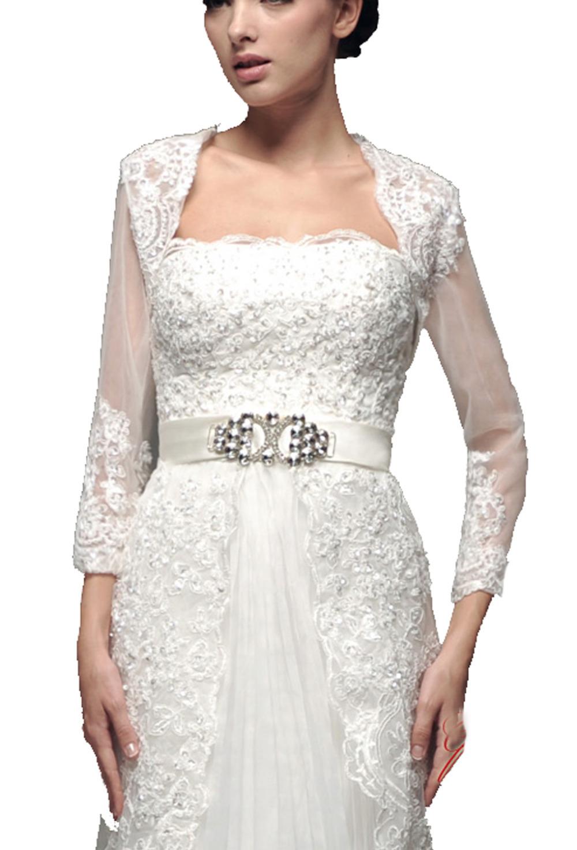 Appliqued lace bridal bolero white jacket shawl feminine for Cocktail dress with jacket for wedding