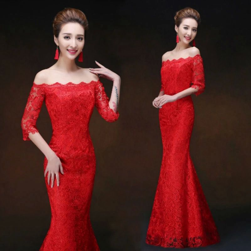red lace fifth sleeve cheongsam design chinese wedding clothing word shoulder mermaid bridal formal dresses chinese modern styleОдежда и ак�е��уары<br><br><br>Aliexpress