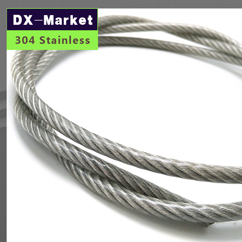 1mm , 50meter/lot , 7*7 , Transparent color Plastic Coating 304 Stainless Steel Wire Rope pulling rope Mold Fishing rope(China (Mainland))