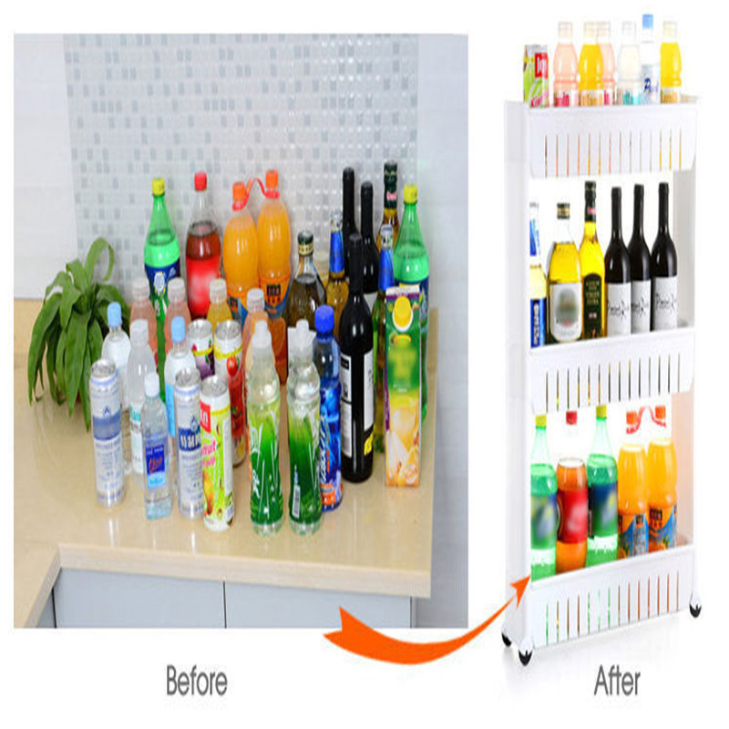 Movable Kitchen Storage Rack Slide Out Trolley