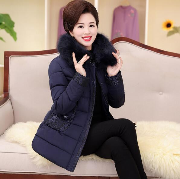 New Winter Thicken Warm Cotton-padded Jacket For Middle-aged Women Fur Collar Slim Female Winter Coat Plus Size XL-5XL T812