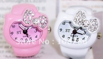 12pcs/lot Free Shipping hello kitty Fashion Ring Watch with diamond finger ring watch gift watch,cheap promotion Wholesale