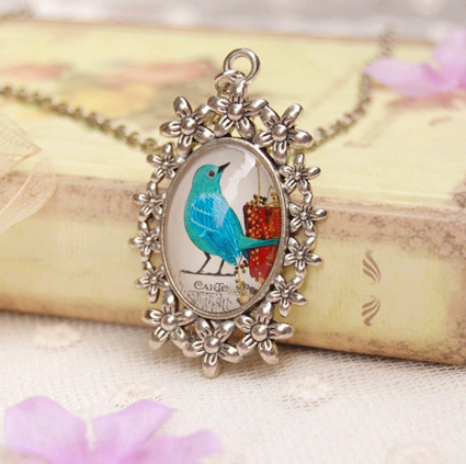 Cute Blue Bird Pendant Necklaces Animal Long Necklaces Ideal Christmas Jewelry for Best Friends XL107(China (Mainland))