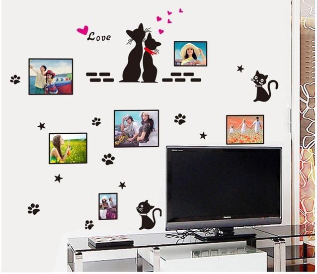 Черный любовь кошки фоторамка наклейки наклейки окна спальни телевизор фоне домашнего декора пвх свадебные украшения