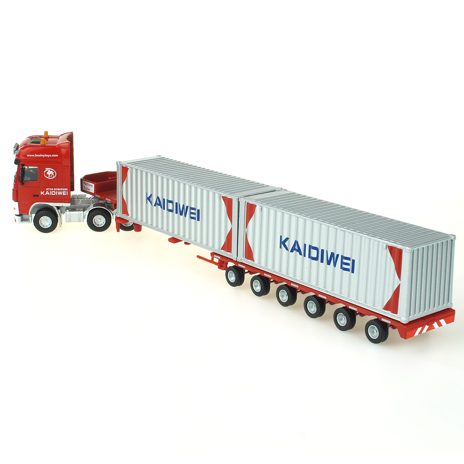 Free shipping 1:50 heavy truck models Kaidi Wei alloy telescopic truck flatbed truck container truck(China (Mainland))