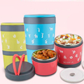 2 Layers Thermal Bento Creative Lunch Box ThermosStainless Steel Insulation Storage food Container Dinnerware with handle