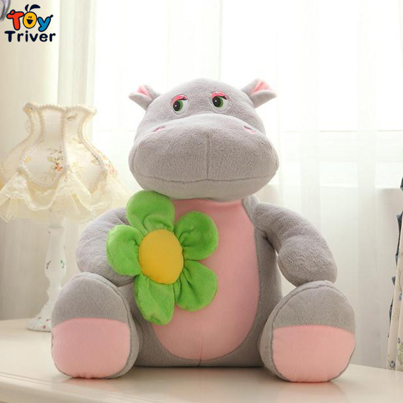 Triver Toy lovely cute 1pc cartoon hippo with sunflower plush stuffed toy doll baby boy girl kids valentine's birthday gift(China (Mainland))