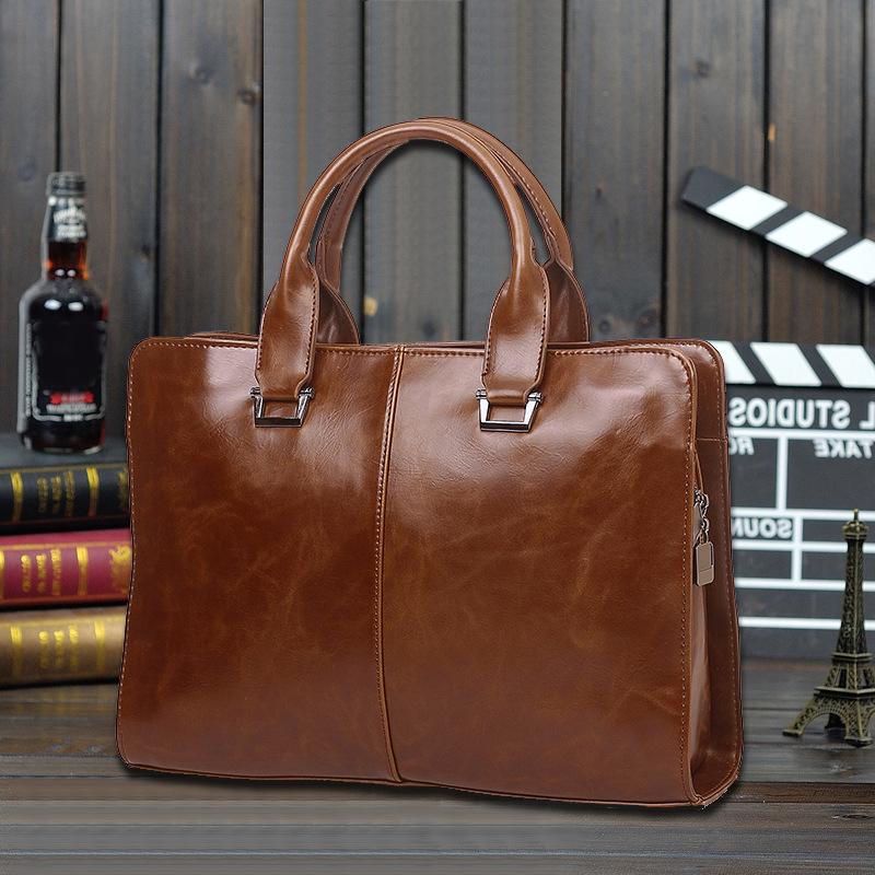 Fashion Men's Briefcase Bag PU Horizonral Business Laptop Handbag Single Band Tote Men Shoulder Bag(China (Mainland))