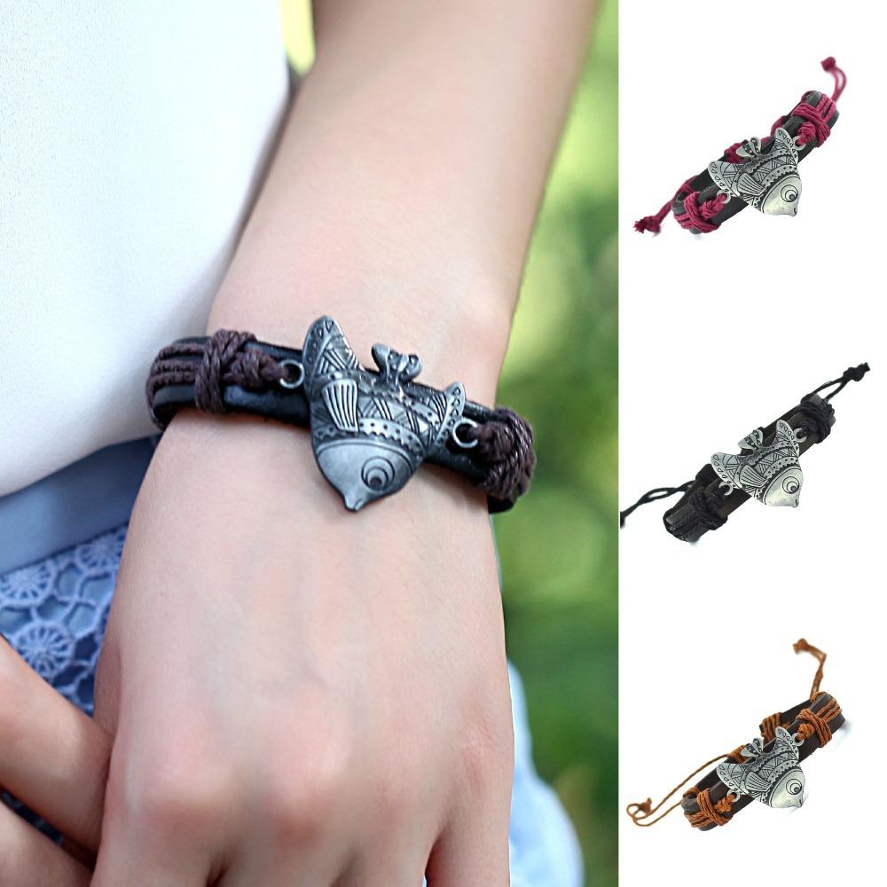 Vintage Fish Leather Bracelet for men Genuine Leather Artificial Cuff Bracelet For Women Best Gift