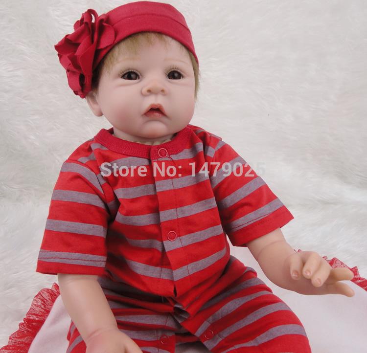 Фотография 2016 New 22 inch 55cm Silicone Baby Reborn Dolls Realistic Handmade Babies Newborn Girls Kids Birthday Gift
