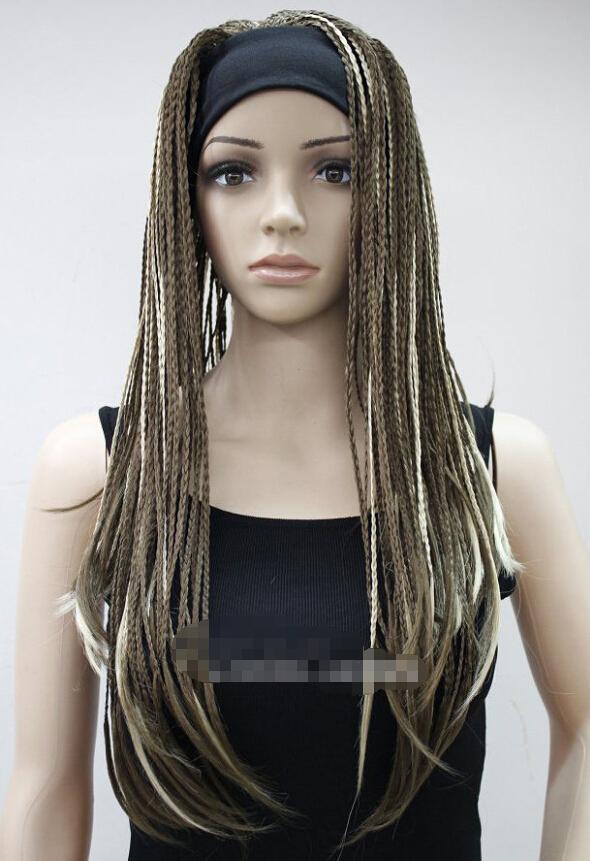 ( wholesale_jewelry_wig ) Fashion Light Brown Blonde Mixed Man-made braids 3/4 half wig headband