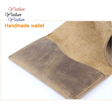 2015 Hot sell Men Women Crazy Horse Leather 2 card holder slim Brown ID Holders wallets
