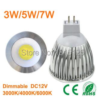 10pcs/lot MR16 COB dimmable 2800K Warm White Spot Light Bulb Lamp 3W 5W 7W replace the 55w/65w/85w Halogen lamp + free shipping(China (Mainland))