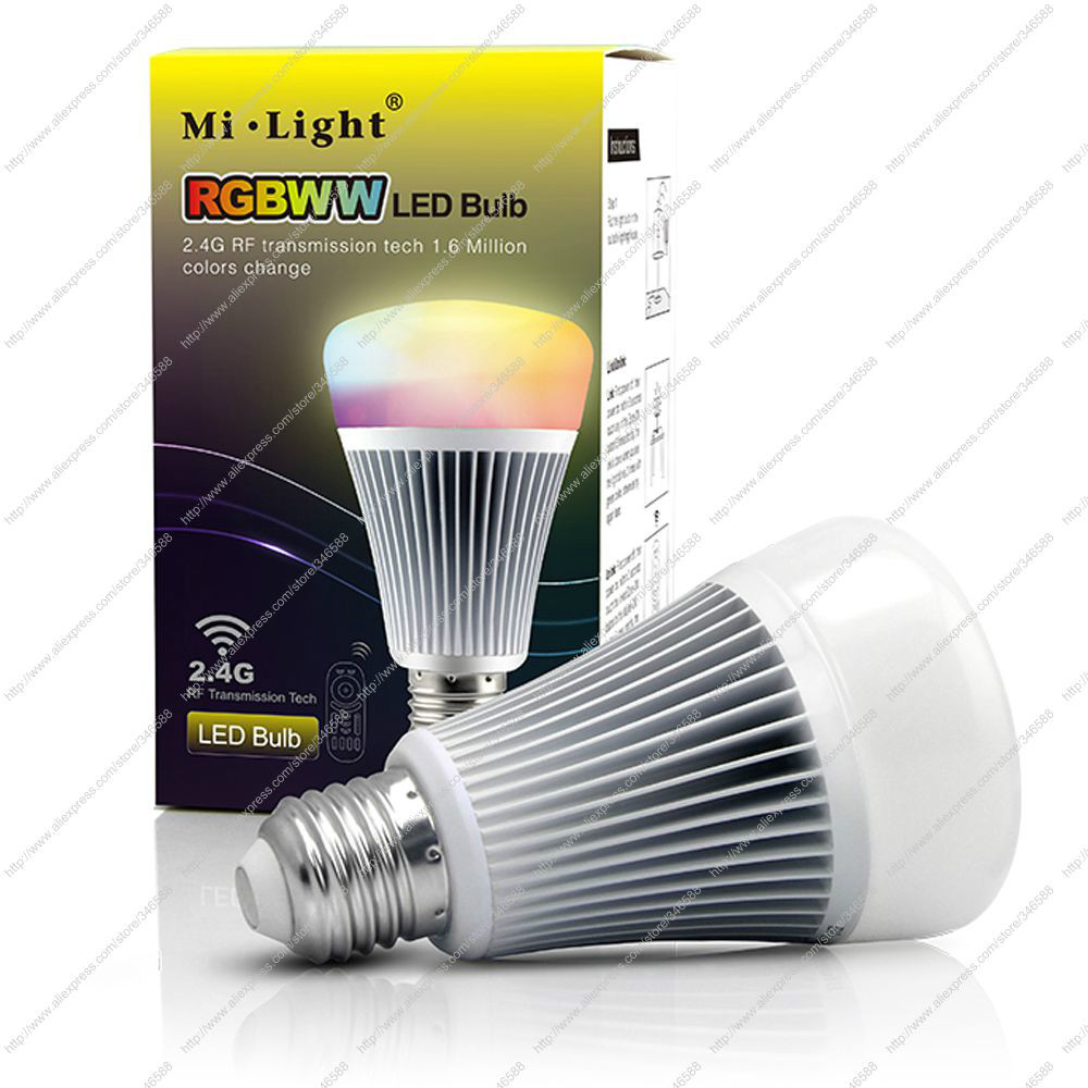 Mi.Light AC85-265V 2.4G Wireless E27 8W RGBWW + CCT / Color Temperature Adjustable 2 in 1 Smart LED Bulb,Support Remote Control(China (Mainland))