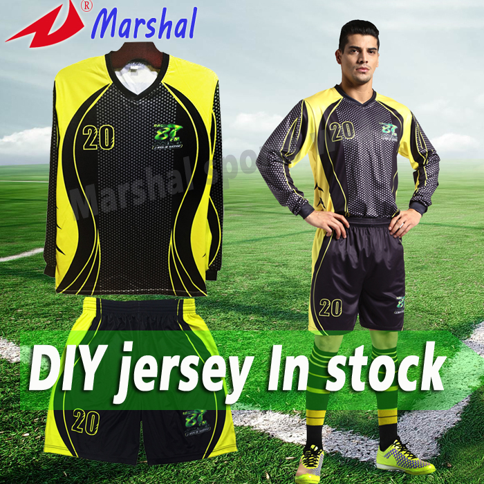 Thailand Quality Soccer Uniform Set 100% Full Sublimation Long Sleeve Cheap Soccer Jersey(China (Mainland))