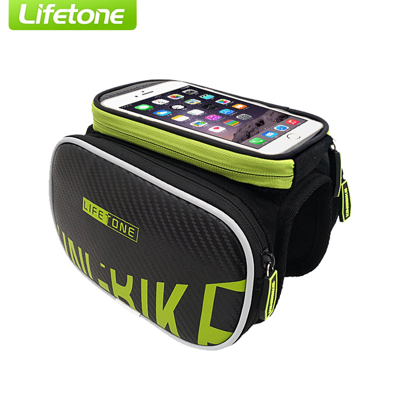 LIFETONE Bicycle Bag Waterproof Mtb Road Bike Bag Cycling Top Tube Double Saddle Bag 5.5'' Touch Screen Phone Pouch(China (Mainland))