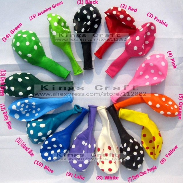 12 Inch Polka Dots Balloons, Wedding Party Decoration Balloon, Colorful Latex Balloons For Birthday Wholesale Free Shipping