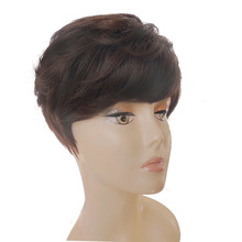 2016 Style Hu-man Hair Wig Fashion Natural Black short Wig for Black / White Women HH207(China (Mainland))