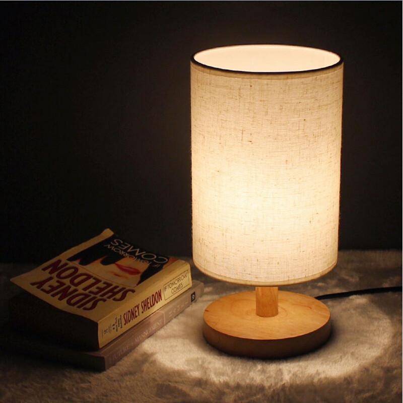 Modern Brief Ikea Wood Linen led e27 Table Lamp Night Light for Restaurant Bar Bed Room