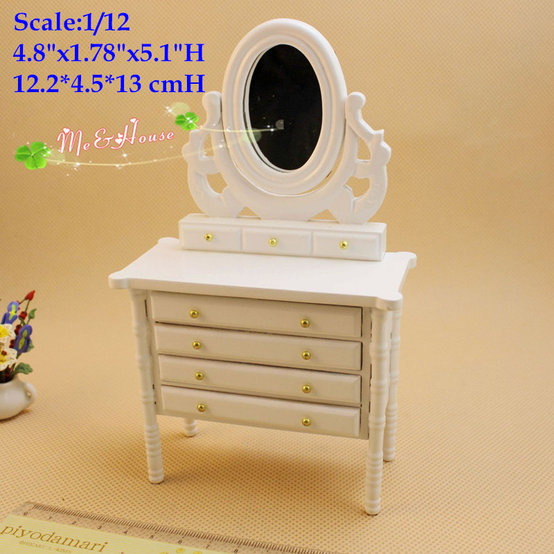 1:12 Miniatures dollhouse bed room furniture white 4 Drawer Dresser w Mirror doll house bedroom furniture(China (Mainland))