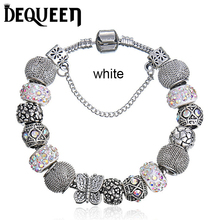 2016 New Murano Charm Bracelet For Women White Crystal Beads fit pandora Bracelets & Bangles DIY Jewelry Pulseras BL008(China (Mainland))