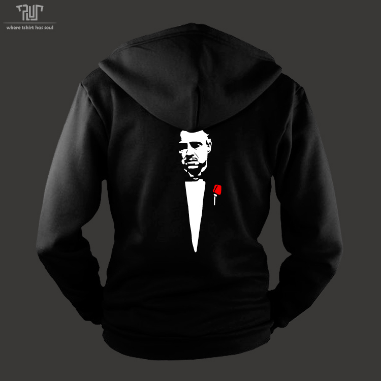 Godfather hoodie men unisex zip sweatershirt heavy hooded 800g weight organic cotton outside fleece inside - T plus -- where t-shirt has soul store