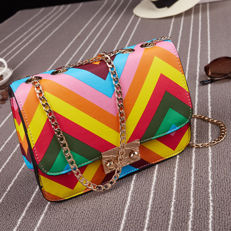 New 2016 fashion Korean style stamp one shoulder bags women PU leather handbags messenger bags Rainbow Beach Bag CW1038(China (Mainland))