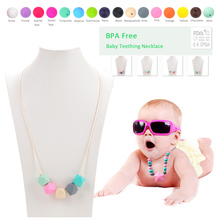 HOT Sale 1pcs Silicone Beads For Necklace Nursing Baby Teether Necklace Silicone Teether Silicone Teething Necklace BPA Free(China (Mainland))