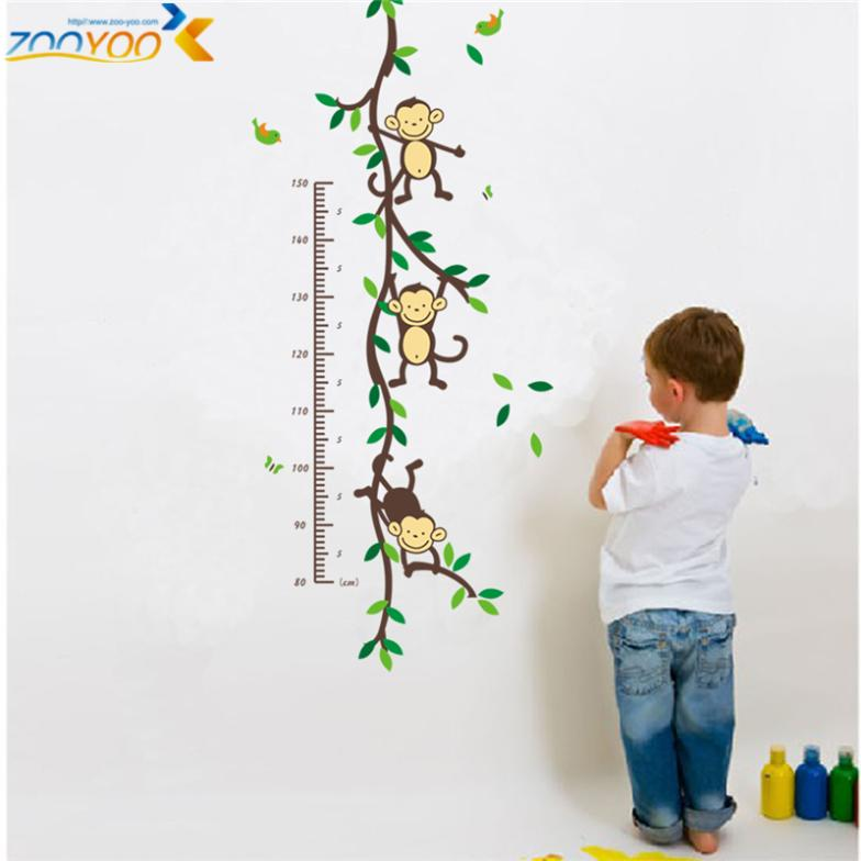 hot selling 2015 monkey wall decals zooyoo1208 animal tree wall art growth chart wall sticker for kids room diy home decorations(China (Mainland))