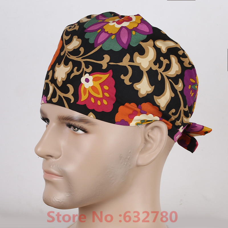 Scrub Hats For Men Black Background Flower Pattern Printing Hospital Uniforms Accessories Surgical Cap Doctor cerrahi bone(China (Mainland))